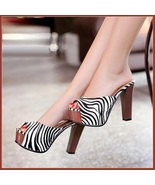 Zebra Striped Black n White PU Leather Stiletto Peep Toe High Heel Slide... - $89.95