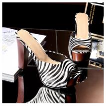 Zebra Striped Black n White PU Leather Stiletto Peep Toe High Heel Slide Sandals image 2