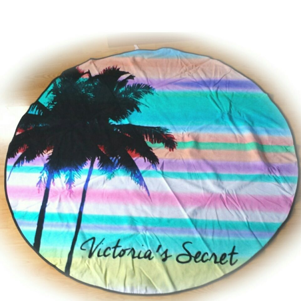 NWT Limited Edition 2016 Victorias Secret Round Beach Towel With Palm Tree 60