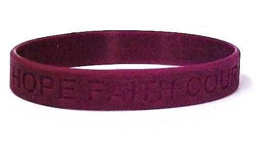 "Burgundy Awareness Bracelets 12 Piece Lot Cancer Cause Silicone Wristband 8"" New"