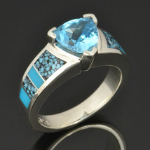Spiderweb Turquoise Engagement Ring with Trillion Cut Blue Topaz - $495.00