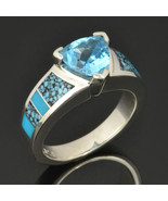Spiderweb Turquoise Engagement Ring with Trilli... - $495.00