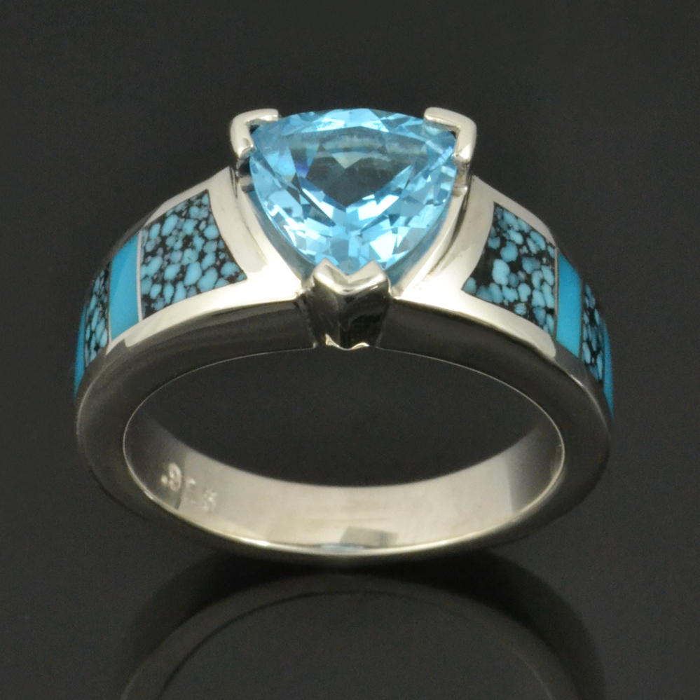 Spiderweb Turquoise Engagement Ring with Trillion Cut Blue Topaz