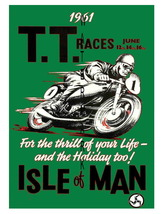 TT Isle of Man Vintage Motorcycle Racing 13 x 10 inch Advert Giclee CANV... - $19.95