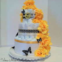 Beautiful Yellow and Black Trim Diaper Cake For A Boy Or Girl - $58.92