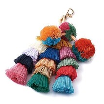 Beadthoven 1-Piece Colorful Pom Pom Tassel Bag Charm Key Chain (Color #1) - $15.60