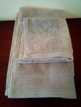 NATE & BERKUS 2Pc  Towel Set 100%Cotton 1 HAND Towel & 1 Washcloth  KHAKI TAN- image 2