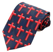 Cross Of Red Mens Necktie Religious Blue Neck Tie Christ Jesus Christian... - €13,17 EUR