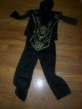 boys  Ninjacostume.black pants,top w hood, skull overlay sz4-6. Funworld - $4.53
