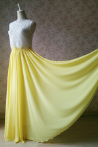 YELLOW Maxi Floor Length Silk Chiffon Skirt Yellow Wedding Chiffon Maxi ... - $53.59