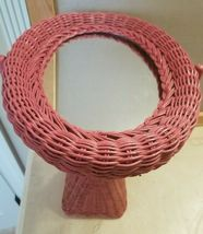 Rose Pink Wicker Vanity Mirror Bathroom Counter Shabby Chic Cottage image 3