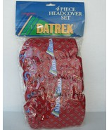 Datrek Golf Head Covers New Red Floral Set Plush Vtg Embroidered Logo 1 ... - $80.99