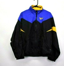Vintage Reebok Men's XL Full Zip Nylon Windbreaker Jacket 1990s Blue Bla... - $32.99