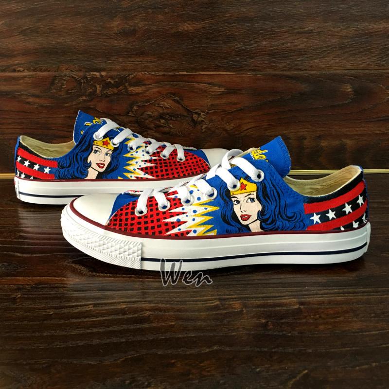 Converse Wonder Woman Low Top Hand Painted Canvas Shoes Unique Present Men Women