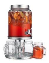 Elegant Home 8 Piece Set Beverage Drink Dispenser Durable Glass Lid 2.3 ... - $65.44