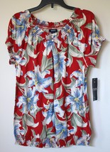 Chaps by Ralph Lauren Floral Smocked Peasant Blouse Banded Bottom Top Petite PM - $39.99