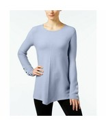 ALFANI Blue Long Sleeve Ribbed Swing Pullover Sweater w/Faux Buttons NWT... - $14.40