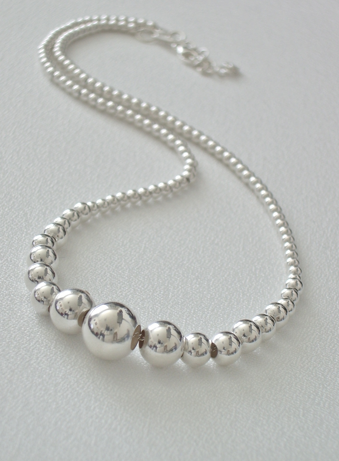 Primary image for Sterling Silver Graduated Bead Necklace