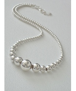 Sterling Silver Graduated Bead Necklace - $108.00