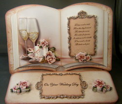 Open Book Handmade Easel Card for Wedding, Anniversary or Engagement  - $8.95