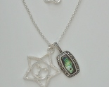 "Marcasite Enhanced Sterling Paua Shell and Star face Pendants w/ 16"" 1.7 mm Ster - $85.00"
