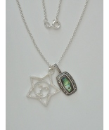 "Marcasite Enhanced Sterling Paua Shell and Star face Pendants w/ 16"" 1.7... - $100.00"