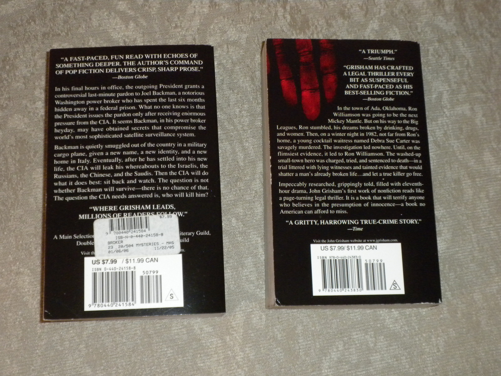 Lot of 2 John Grisham p'rbacks: The Broker 1st 2005 VG++ & Innocent man 2007 VG
