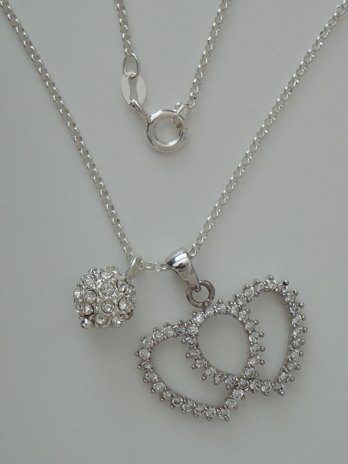 "Primary image for CZ Enhanced Sterling Double Heart and Ball Pendants w/ 16"" 1.7 mm Sterling Silve"