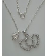 "CZ Enhanced Sterling Double Heart and Ball Pendants w/ 16"" 1.7 mm Sterli... - $87.00"