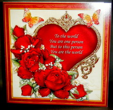 Multi-Occasion Handmade Greeting Card - Red Roses over Ornate Heart - $8.95