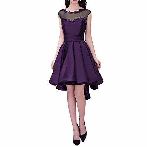 Primary image for Lemai High Low Cap Sleeves Bateau Juniors Beaded Prom Evening Dresses Dark Plum