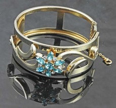 Coro Pegasus Hinged Blue Flower Cuff Bracelet - $35.00