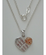 """Sterling Silver """"I Love You"""" Pendant w/ 16"""" 1.7 mm Sterling Silver Cable... - $72.00"""