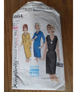 Simplicity Pattern 5664 Jr Petite Dress Tie Size 11 JP Trimmed Complete 1964 60s - $4.50