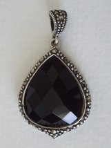 Black Onyx Cushion Faceted Teardrop with Marcasite Border Pendant - $72.00