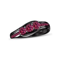 Pink Sapphire 14k Black Gold Plated 925 Sterling Silver Three Stone Wedd... - $79.64