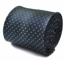 Frederick Thomas Grey Mens Tie with Turquoise Pin Spot Design RRP£19.99 FT784