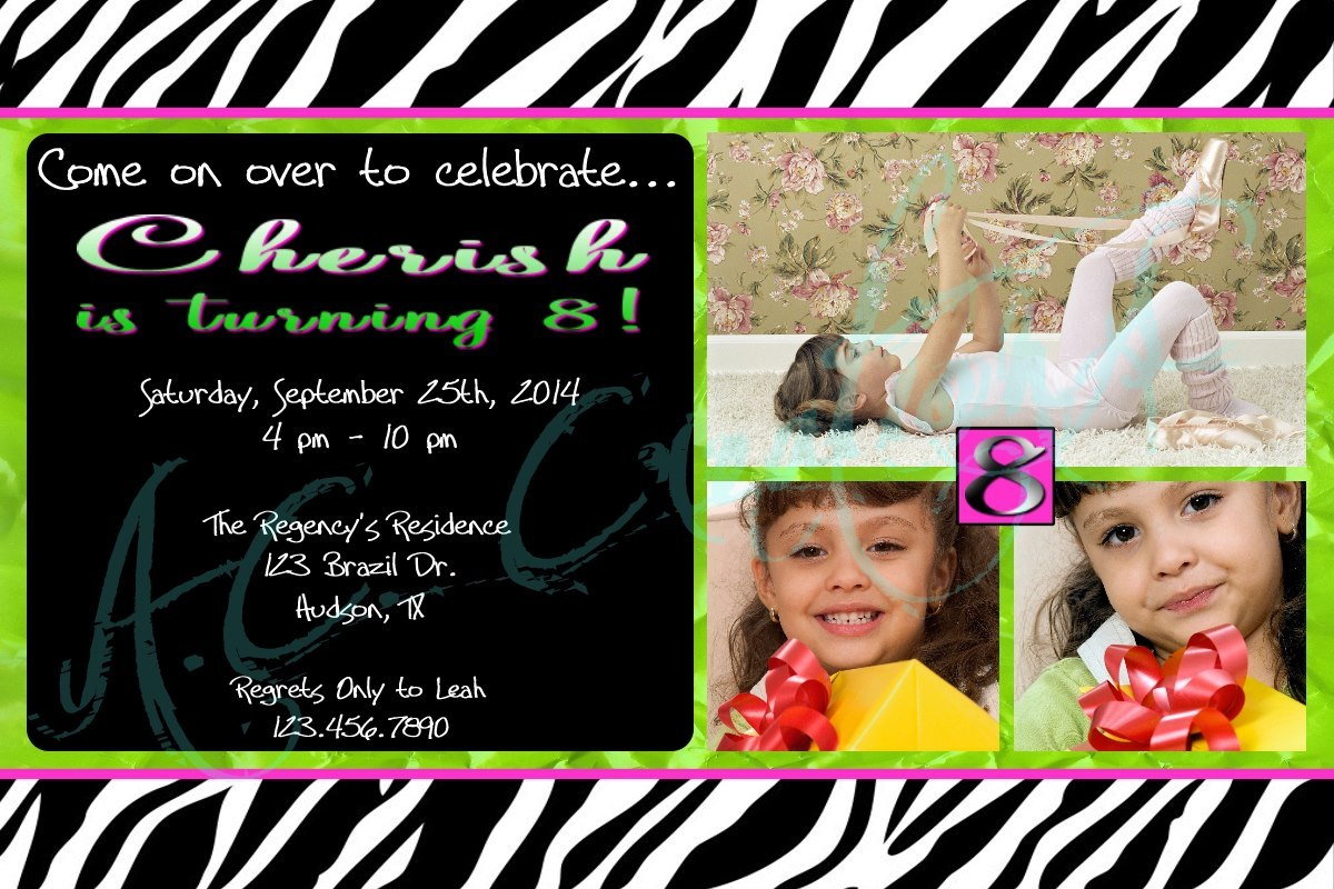 Primary image for Girls Birthday Party Invitation - You Print