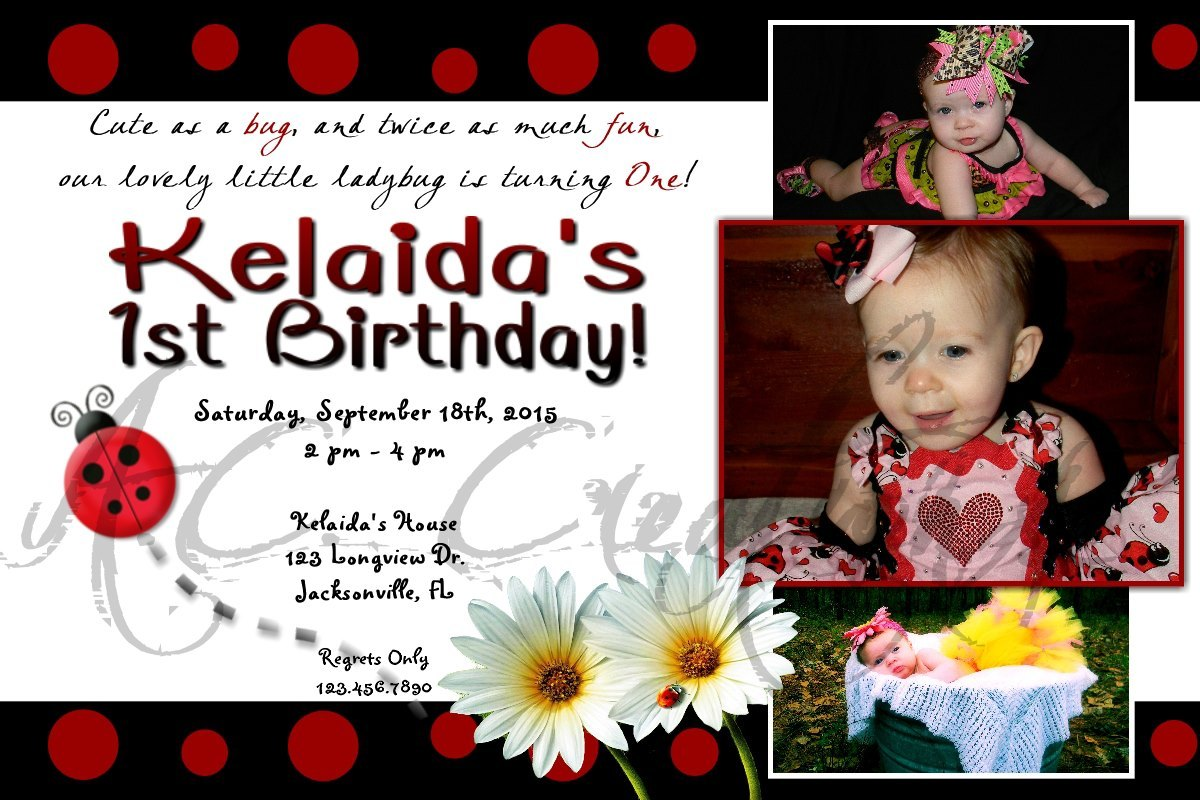Primary image for Ladybug Birthday Party Invitation - You Print