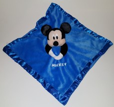 Mickey Mouse Disney Lovey Blue Plush Baby Security Blanket Rattle Just Play - $14.46