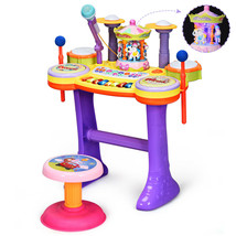3 In1 Kid Piano Keyboard Drum Set with Carousel Music Box - $77.11