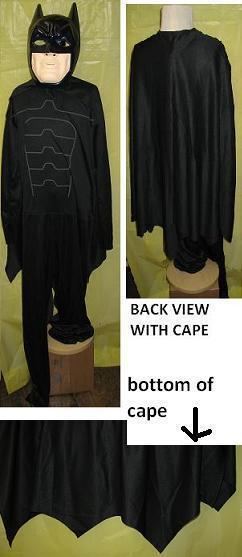 BATMAN COSTUME WITH CAPE AND PLASTIC FACE MASK LG Bonanza