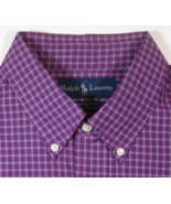 POLO RALPH LAUREN L Custom Fit Rich Rasberry Purple Checks Plaid Dress S... - $79.99
