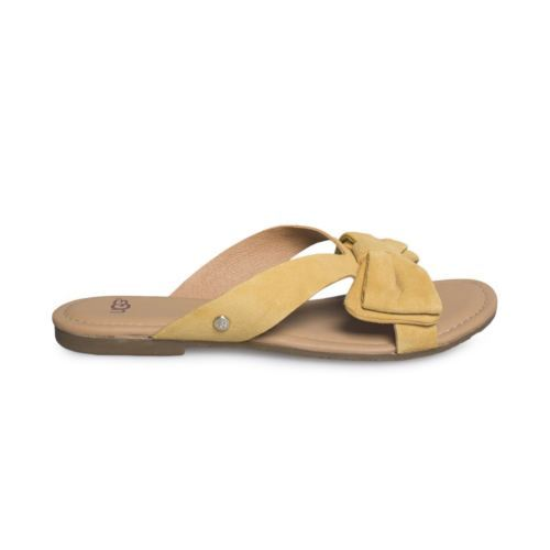 b3190e7b96ac 12. 12. UGG FONDA SLIDE SUNFLOWER SUEDE BOW YELLOW WOMEN S SANDALS SIZE US  10 UK 8.5 NEW  UGG FONDA ...