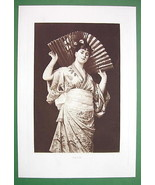 JAPANESE GIRL in Kimono Holding Huge Fan - Victorian Era Antique Print - $37.13