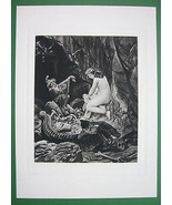 NUDE Nymph Elves Harp & Treasure - SUPERB Antiq... - $34.55