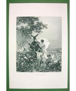 NUDE Queen of Fairies Titiana Cherubs & Donkey - Victorian Era Antique P... - $47.52