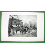 PARIS Cafe de Cascade High Society Horse Carriages - Victorian Era Antiq... - $33.66