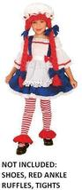 RAG DOLL GIRL COSTUME 2-4T WITH HAT & ATTACHED YARN WIG - $35.00