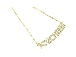 Crystal Stone Paved I Love To Cheer Necklace in Goldtone - $13.95